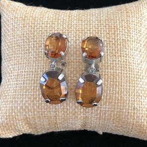J Crew Silver Tone Lever Back Earrings Amber Brown